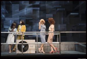 Sur le toit d'un gratte-ciel, quatre secrétaires (Florence Vella, Rebecca Marder, Anna Cervinka & Clotilde de Bayser) s'adonnent à leur plaisir addictif © Brigitte Enguérand