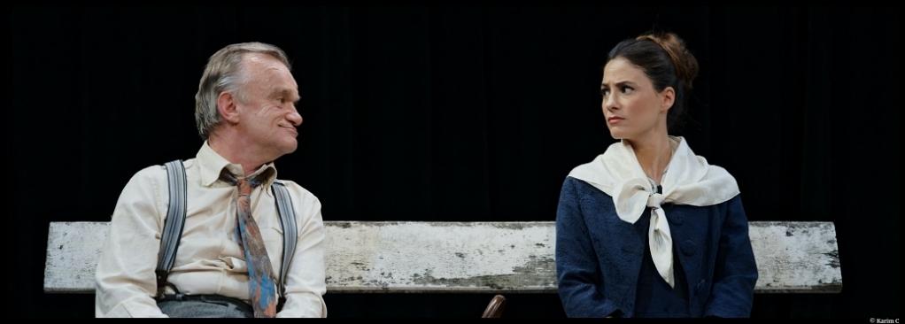 Le Square de Marguerite Duras. Dominique Pinon et Mélanie Bernier. Mise en scène Bertrand Marcos. Lucernaire. © Karim C